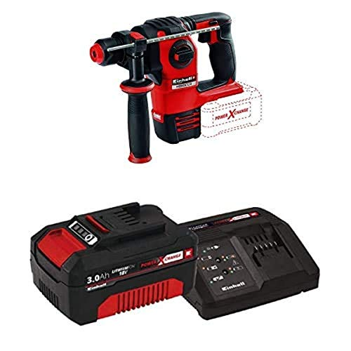 Einhell Herocco Power X-Change 18-Volt Cordless 3/4-Inch, Brushless 1200-RPM Rotary Hammer, 2.2J Impact Power, w/SDS-Plus, Chisel Only Mode, 4-Functions, Kit (w/ 3.0-Ah Battery and Fast Charger)