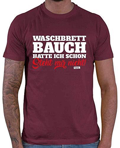 HARIZ Herren T-Shirt Waschbrettbauch Hatte Ich Schon Steht Mir Nicht Lustiger Spruch Plus Geschenkkarten Wein Rot 3XL