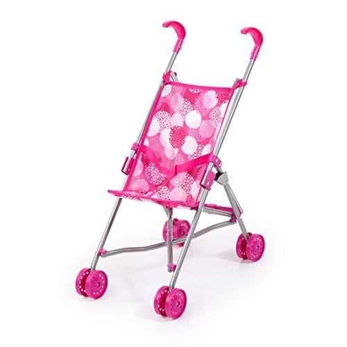 Bayer Design 30541AA Puppenbuggy, Puppenwagen mit integrierten Sicherheitsgurt, leicht faltbar, klappbar, weiß, pink mit modernen Muster
