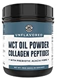 MCT Oil Powder + Keto Collagen Peptides + Acacia Fibre 16oz (Unflavored) | 10g MCT, 5g Collagen | MCT Collagen for Coffee Creamer, Shakes, Smoothies, Ketogenic Low Carb Protein Powder