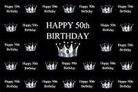 Amxxy 10x8ftお誕生日おめでとう50歳の誕生日の背景シルバークラウンパターンホワイトワードクラウド男性大人50歳Bdayパーティー写真の背景黒のビデオドレープ写真スタジオの小道具