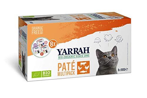 Yarrah Multipack Paté Orgánico para Gatos - 8 x 100 gr - Para Todo Tipo de Gatos - Sin Aditivos Artificiales, Pesticidas ni OGM - con Salmón, Pollo y Pavo, Pollo y Ternera