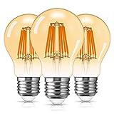 DORESshop Bombilla LED E27 Vintage de 8 W, Bombilla de Tornillo Edison de Vidrio ámbar, Bombilla de filamento clásica E27 Edison, Equivalente a 80 W, 800 LM, no Regulable, Paquete de 3