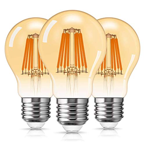 DORESshop LED Vintage Glühbirne A19, E27 Retro Lampe, 8W ersetzt 80W Antike Glühbirne, 2700K Warmweiß, 800LM Amber Glas Birne Ideal für Dekorative Beleuchtung mit Antike Nostalgie Stil, 3er-Pack