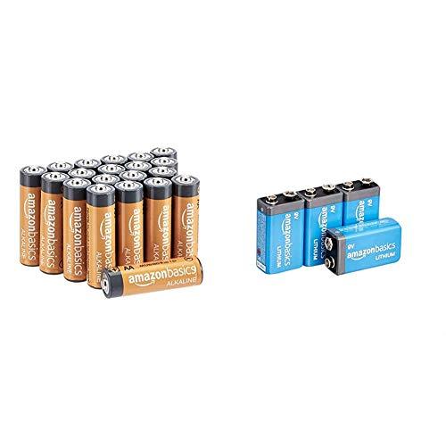 AmazonBasics Battery Combo Pack   AA 20-Pack, 9V Lithium 4-Pack (May Ship Separately)