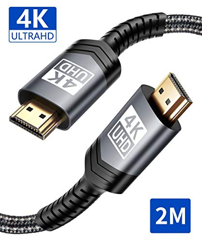 4K HDMI Kabel 2M, JSAUX HDMI 2.0 auf HDMI Kabel 4K@60Hz Highspeed 18Gbps Kompatibel für HD 1080P, Highspeed mit Ethernet, ARC, PS3/PS4, Xbox One/360, HDTV und Monitor Grau