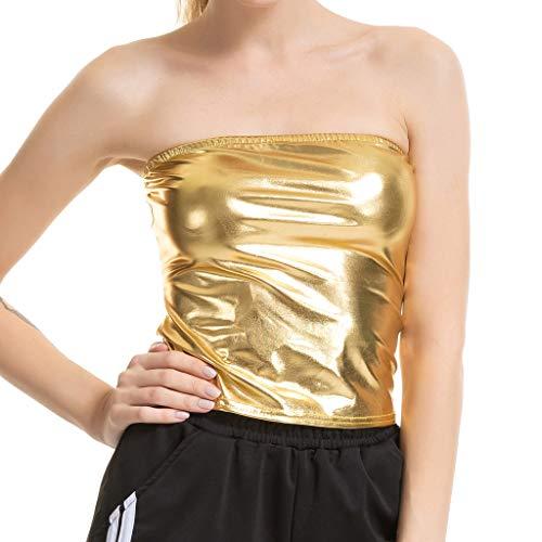 Chaleco de verano para mujer con top de pintura de color liso envolvente de piel barnizada, top con túnica corta para mujer, ideal para el día de San Patricio de Pascua (Gold-S)