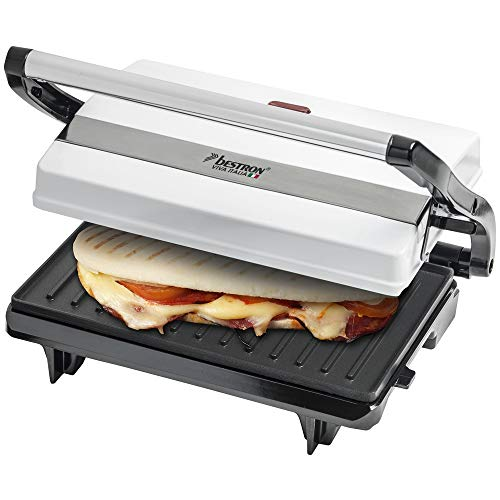 Bestron Antihaftbeschichteter Sandwich-/Panini-Kontaktgrill, Viva Italia, 700 W, Weiß