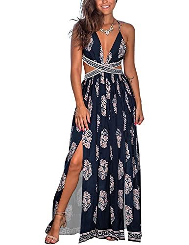 YIYIN Mujer Vestido de Playa Largo Verano Casual Bohemio Florales de sin Mangas Cuello en V Talla Split Wrap Maxi Vestidos Azul M