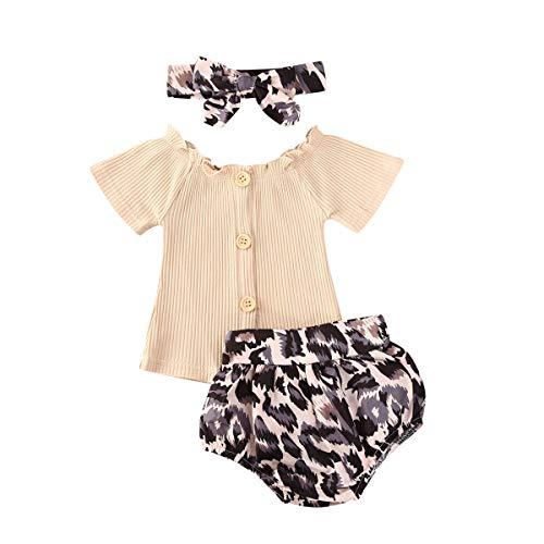 Carolilly 3 PCS Completo Bambina Tuta Neonata Estivo Maglietta a Manica Corta +Pantaloncini Stampa Leopardata+Facia