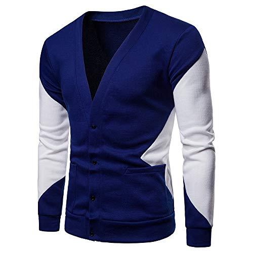 Xmiral Strickjacke Herren Stricken Mantel lässig Herbst Patchwork Langarm Pullover (M,Blau)