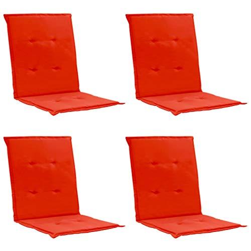 Festnight Coussins de Chaise de Jardin avec Dossier 4 pcs Rouge 100 x 50 x 3 cm