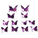 12 Unids / Set Pegatinas De Pared De Mariposa 3D, Adhesivo Extraíble Pegatinas De Mural Pegatinas De Pared De Mariposa Para Decoración Del Hogar Decoración De Dormitorio, Pegatinas De Pared Púrpura
