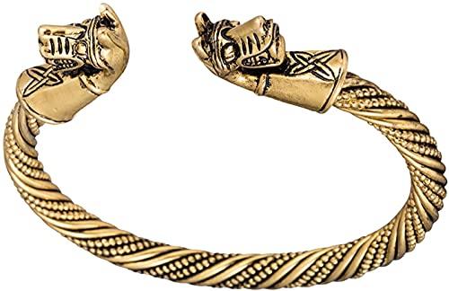 AMOZ Dawapara Ancient Double Horse Pony Head Brazalete de Nudo Celta para Hombres/Mujeres Joyería,Oro Antiguo
