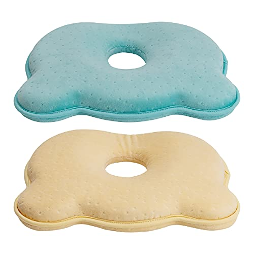 testyu 2 Piezas Almohada Bebe, Cojin Plagiocefalia Bebe in Memory Foam Prevención de cabeza plana Almohada (Azul&Amarillo)