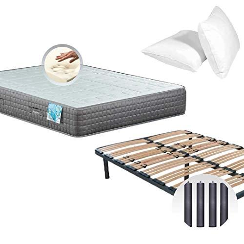 Dulces Sueños Pack COLCHON VISCOELASTICO Premium + SOMIER + Patas + Almohada VISCO (90 x 190) PROMOCIÓN