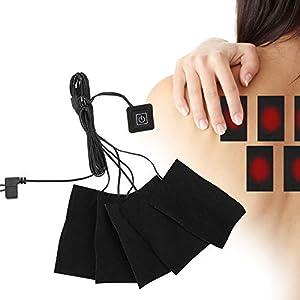 Almohadilla Calefactora de Tela Eléctrica USB, Calentador de Tela de Fibra de Carbono Resistente Al Agua Con Temperatura Ajustable de 3 Turnos, Cojín Lavable Para Calefacción de Abdomen Trasero