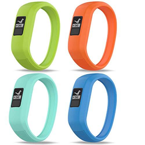 GVFM Band Compatible with Garmin Vivofit JR/Vivofit JR2 / Vivofit 3 Band, Soft Silicone Sports Replacement,Suitable for Children Boys and Girls (4-Lime,Teal,Orange,Sky Blue, S: for 5.7 inch)