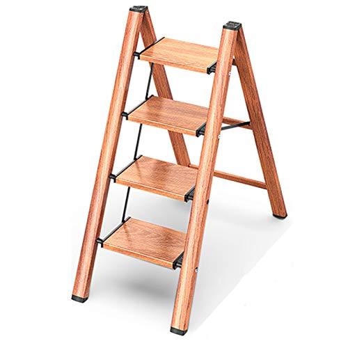 Escalerilla, Escalera Plegable Robusto 4 peldaños hasta 150 kg, Escalera de Aluminio Plegable, Peldaños en Forma de A, de Doble Cara, Pies Antideslizantes,4 Steps