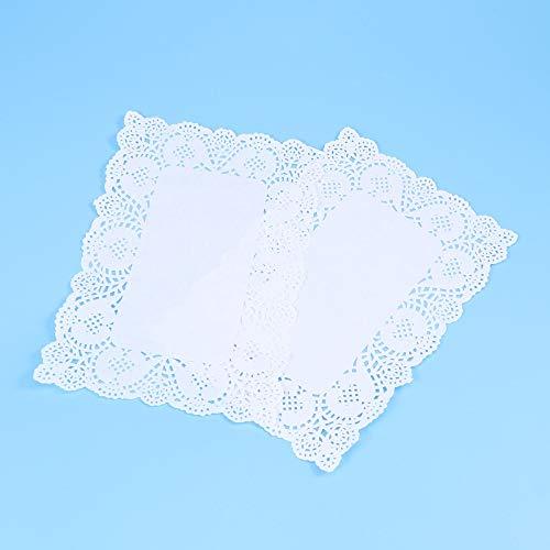 Portavasos 140 unids Rectángulo de absorción de aceite desechable blanco Papel de encaje blanco Talabalies Caja de pastel Liner Embalaje Papel Partido (Color : Blanco, tamaño : 30x19cm)