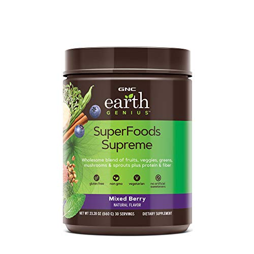 GNC Earth Genius SuperFoods Supreme (California Only) - Mixed Berry, 30 Servings, Wholesome Blend Providing Protein and Fiber