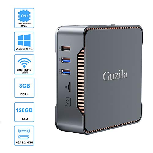 GUZILA Mini PC,Intel Cerelon J4125 Processor(up to 2.7GHz) Windows 10 Pro Mini Desktop Computer with 8GB DDR4/128GB SSD,Support Triple Display,Gigabit Ethernet,Dual Band Wi-Fi,Bluetooth 4.2,4K HD