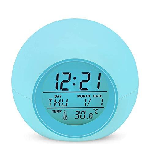 Sveglia Digitale, Lypumso Allarme Sveglia per Bambini con 7 colori, Intelligente a LED Elettronica Orologio da Comodino, con Tempo 12/24 Ore, Data, Temperatura, Funzione Snooze