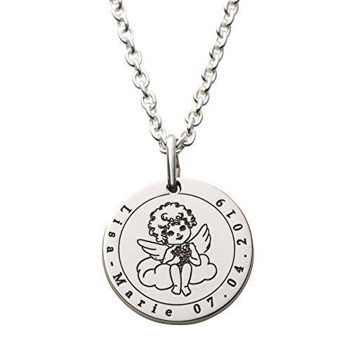 Hals-Kette echt Silber 925 mit Gravur - Engel Schutzengel Geschenke für Mädchen zur Geburt Taufe Kommunion (S - 15mm Durchmesser)