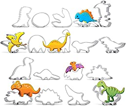 Yesland 18 Pcs Dinosaur Cookie Cutter Set, 3 Inch Stainless Steel Cutters Molds for Brontosaurs Spinosaurus Tyrannosaurus Triceratops Dinosaurs for Kids Dinosaur Birthday Party (Silver)