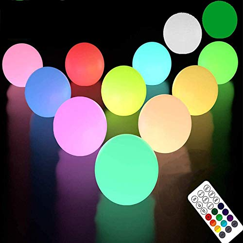 LOFTEK Floating Pool Light with Remote (RF), Improved IP67 Full Waterproof, RGB Color Changing LED Pool Balls Battery Operated Light Up Bath Toys, Night Light, Party Decor Lights LED Ball (12 Packs)