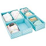 mDesign Juego de 4 cajas para guardar ropa – Práctico organizador de armario en 2 tamaños para los cajones – Bonitas cajas de tela con 2 compartimentos y diseño de puntos – azul turquesa y blanco