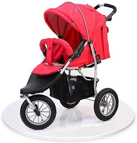 YYQXLZ Jogging-Buggy, Reisesystem, faltbar, Anti-Schock, hohe Sicht, leichter Kinderwagen mit 5-Punkt-Sicherheitsgurt, schlanker und vielseitiger Kinderwagen (Farbe: rot)