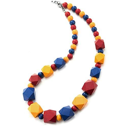 COOLSTEELANDBEYOND Babero Gargantilla Choker Statement Collar con Coloridos Facetado Madera Perla Encantado Colgante, Vestir Verano Playa