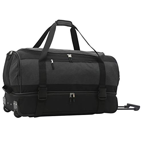 Travelers Club Pinnacle Travel Rolling Duffel Bag, Grey, 30' Double Compartment Suitcase