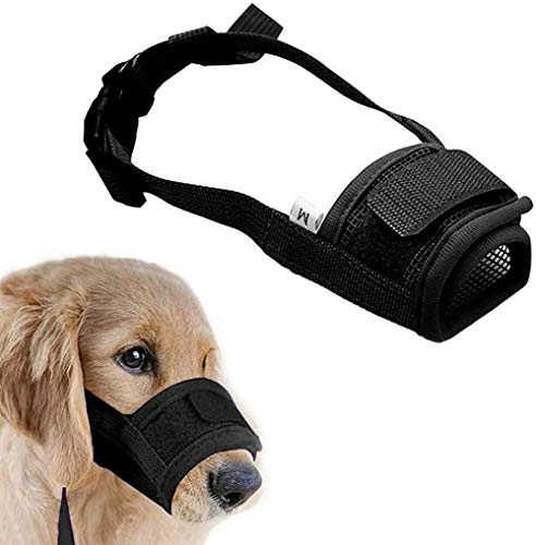 Dog Muzzle-Adjustable Soft Dog mask for Small, Medium and Large Dogs. Breathable mesh Trains The Dog to bite, bark and chew. Dogs are not Allowed to eat, do not Lick The Wound, and Stop Barking. (M)
