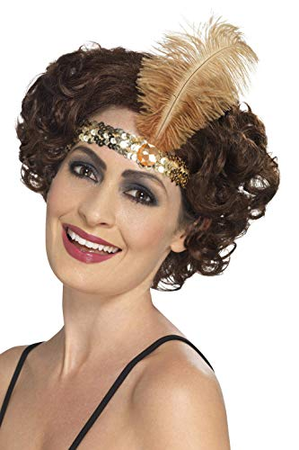 Smiffys Damen Flapper Stirnband mit Feder, One Size, Gold, 44665