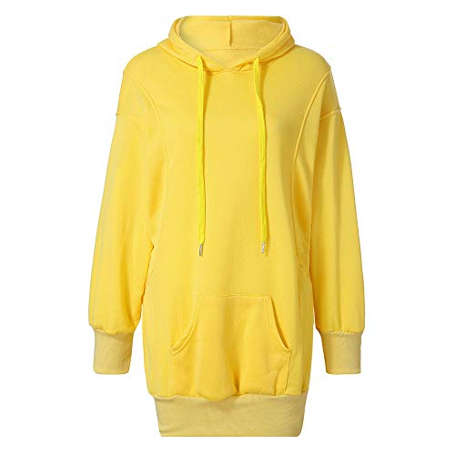 Toamen Womens Hoodies, Clothes Sale Clearance Ladies Fashion Solid Color Long Sleeve Casual Loose Pullover Blouse Hooded Top Hoodie Sweatshirts Autumn Winter New(Yellow, 10)