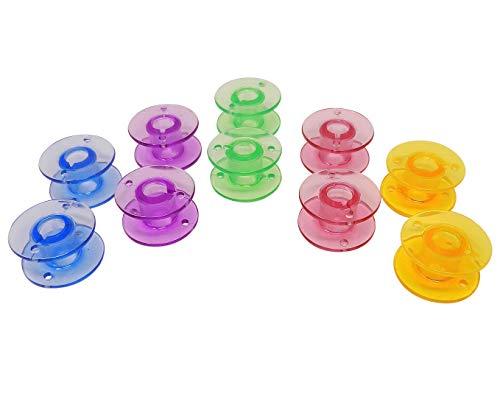 ZickZackNaehmaschine Colores Plástico Bobinas para Singer 1507, 2250, 2259, 2263, 2273, 8280, 2282Máquina de Coser 10St.