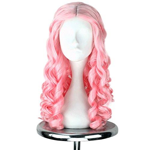 Miss U Hair Women Girl's Long Light Pink Curly Hair Halloween Cosplay Costume Wig Adult Kids