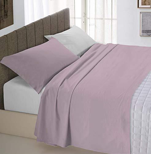 Italian Bed Linen Natural Color Completo Letto Doppia Faccia, 100% Cotone, Rosa Antico/Grigio Chiaro, Matrimoniale