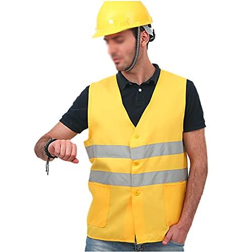THHN Gilet di Sicurezza Traspirante Giallo, Tasche Gilet Riflettente ad Alta visibilità di Notte, Ciclismo Adulto Che esegue Attrezzature Leggere (Color : Yellow)