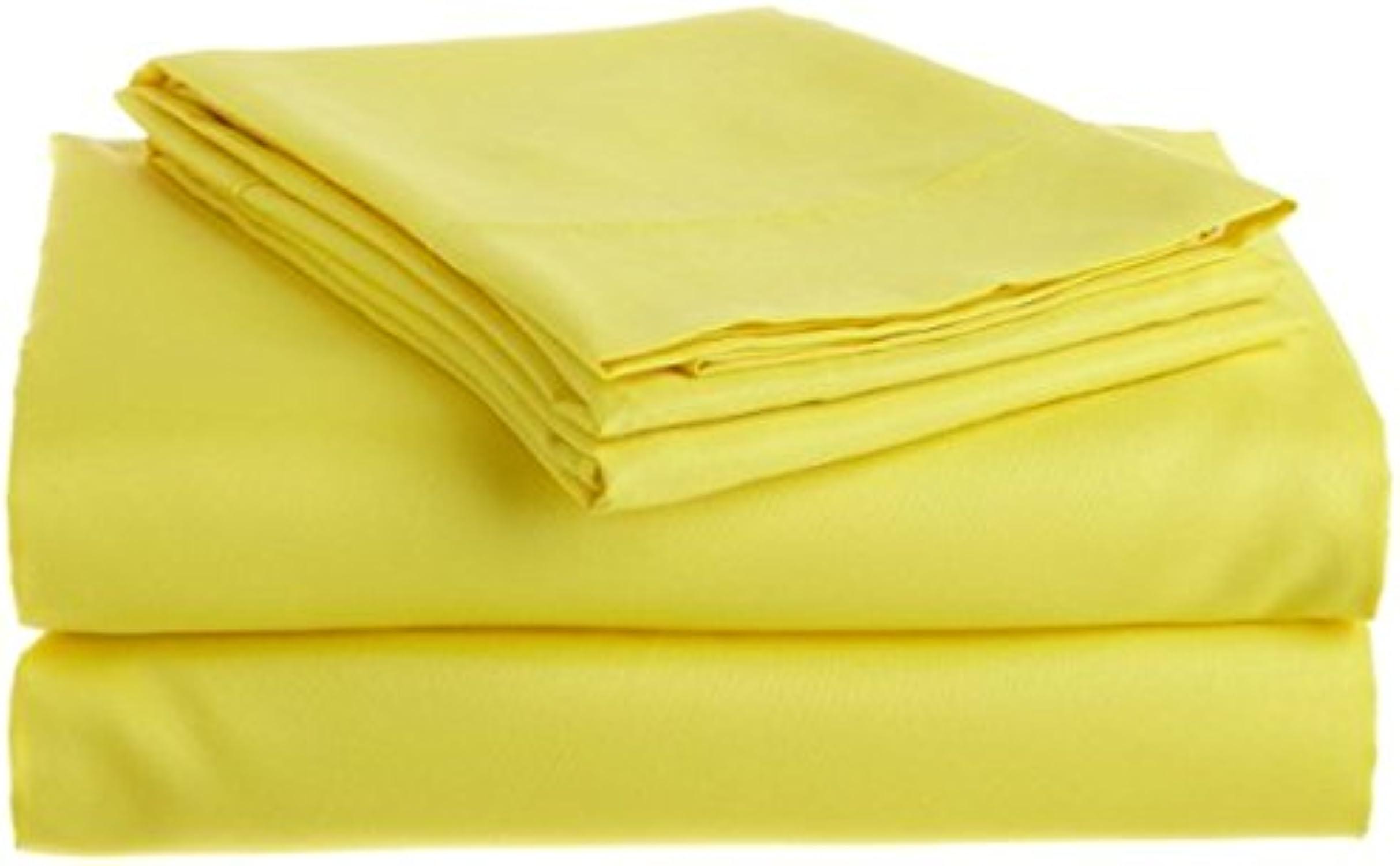 Dreamz Bedding Thread Count de Finition, 600Italien Coton égypcravaten Super King Taille Bed Sheet Set 66cm Extra Deep Pocket UK, Jaune Massive, 600tc Parure de lit 100% Coton