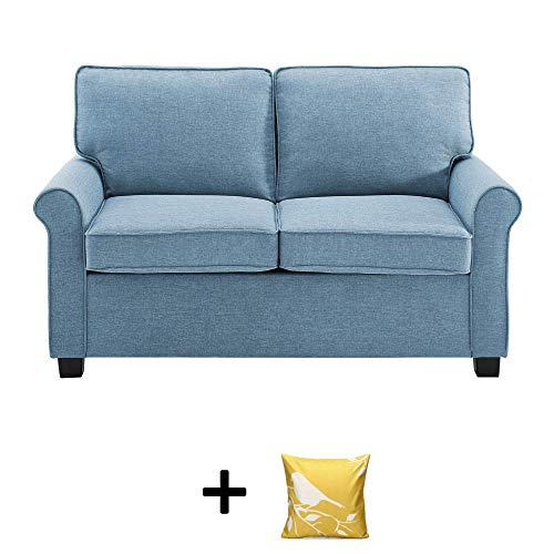 Mainstay Sofa Sleeper with Memory Foam Mattress   No-Tool Easy Assembly, Light Blue + Free Decorative Pillow Cover
