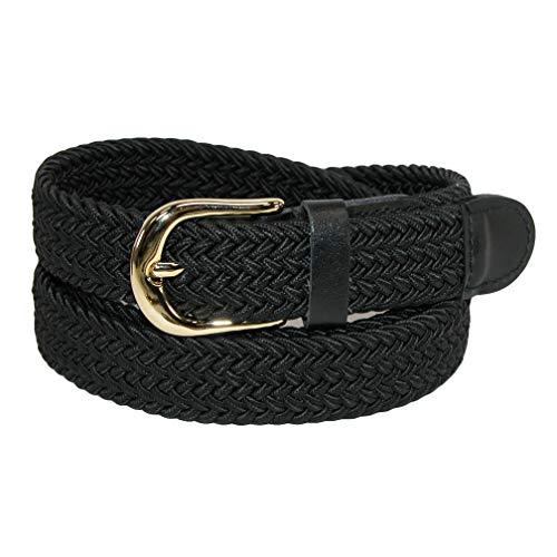 CTM Women's Elastic Braided Stretch Belt, Large, Black