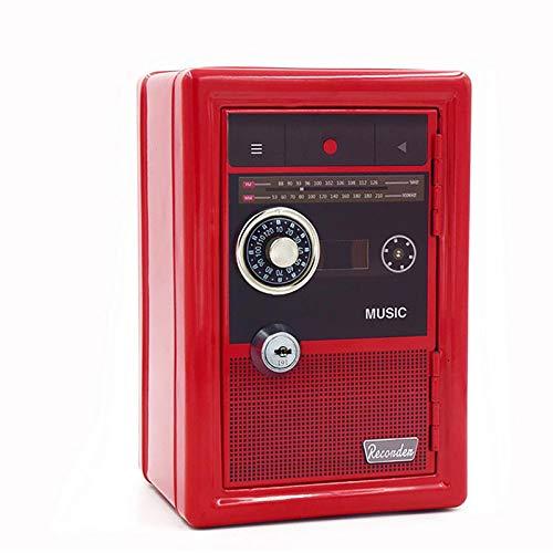 Mini Alcancía Retro Segura para Niños, Caja De Seguridad para El Hogar, Almacenamiento De Llaves De Metal, Hucha Roja 0421C(Size:A)