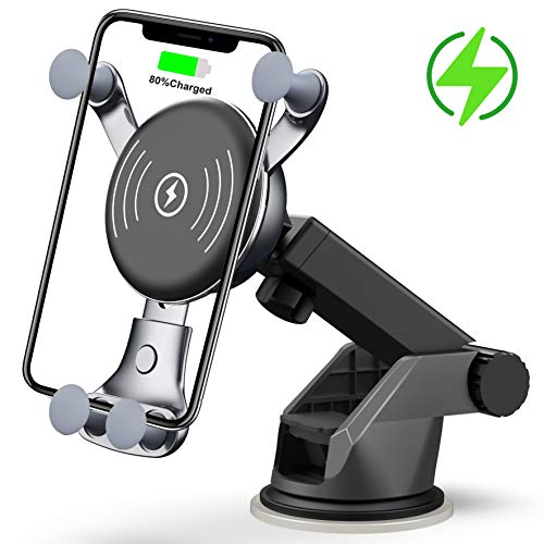 [2020 New] Wireless Car Charger, Dashboard & Windshield Car Mount, Cell Phone Holder, Compatible with iPhone 11/11 Pro/11 Pro Max/Xs MAX/XS/XR/X/8/8+, Galaxy Note10/S10/S20 Series