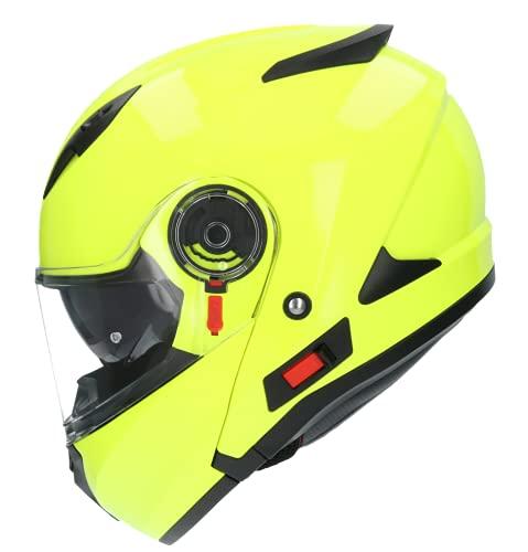 Casco De Moto Marca Shiro Sh580 Negro Amarillo Fluor, Casco Integral ECE Homologado, Casco De Moto De Cara Completa Doble Frontal Abatible, para Hombres Adultos, Mujeres (Large)