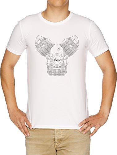 Moto Guzzi Motor Camiseta Hombre Blanco
