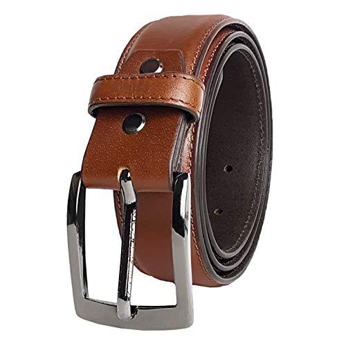 STILORD 'Dean' Cinturón Hombre Piel Business Belt Cinturón Trabajo Robusto Correa para Vaqueros Traje con Hebilla de Espina 34mm Cuero Genuino, Color:cognac-marrón, tamaño:120