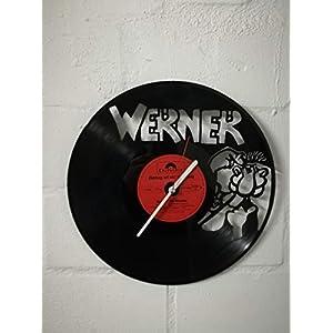 Wanduhr aus Vinyl Schallplattenuhr mit Werner Motiv upcycling design Uhr Wand-deko vintage-Uhr Wand-Dekoration retro-Uhr